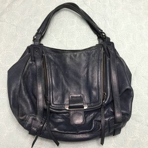 Kooba Johnnie navy blue leather tote see details